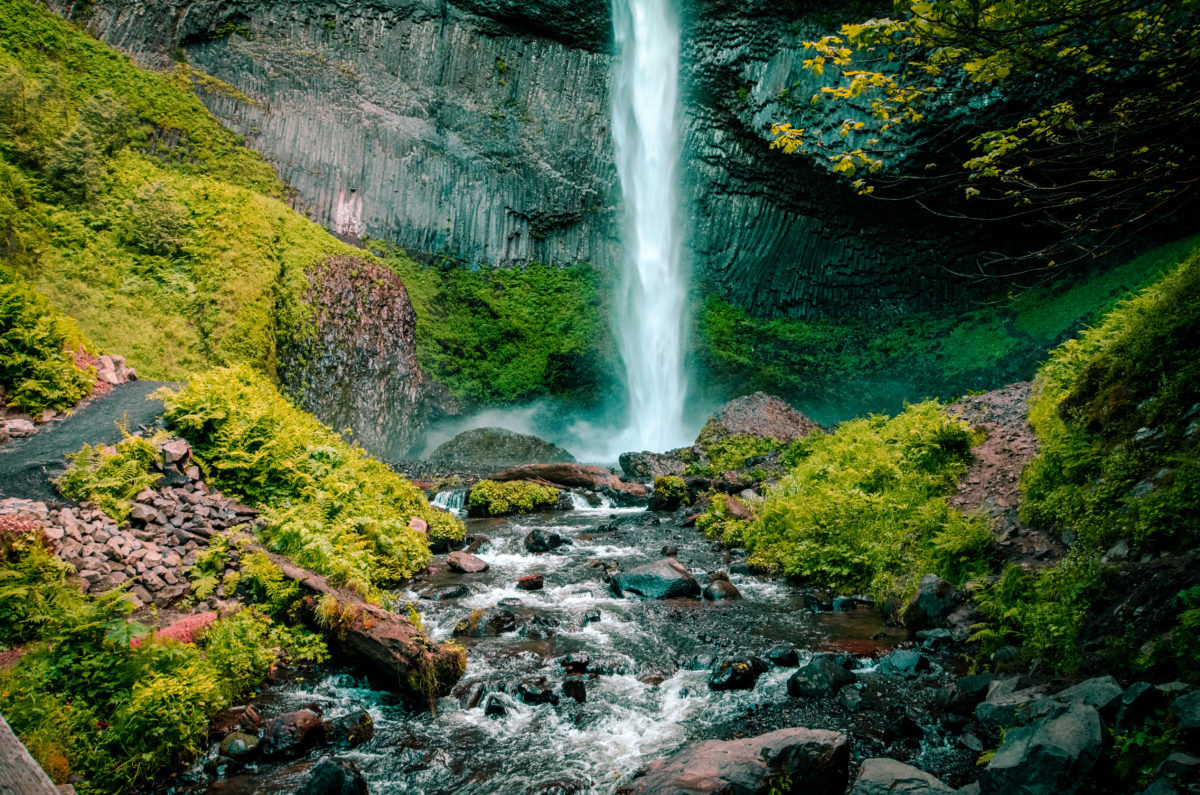 Waterfall and flowing stream